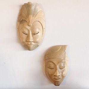 Pair of Hand carved Indonesian Masks